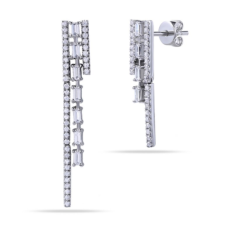 Shula NY 14K Long & Short Diamond Earrings with Round & Baguette Diamonds 0.72C T.W.