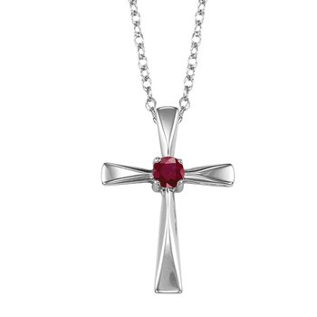 Silver Ruby Cross Pendant