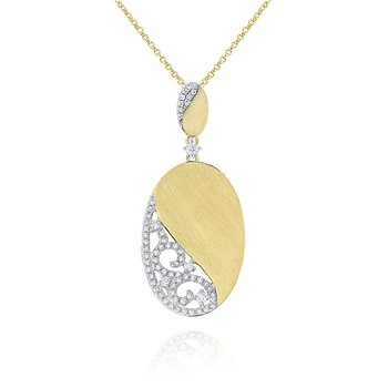 14K Diamonds Swirl Necklace