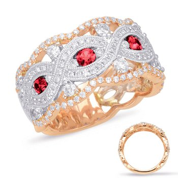 Rose & White Gold Ruby & Diamond Ring