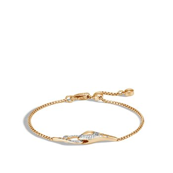 Legends Cobra Pull Through Bracelet in 18K Gold with Diamonds