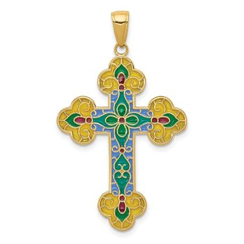 14K Acrylic Flower Center Budded Cross Pendant