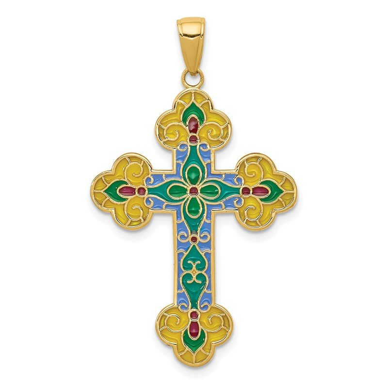 Quality Gold 14K Acrylic Flower Center Budded Cross Pendant