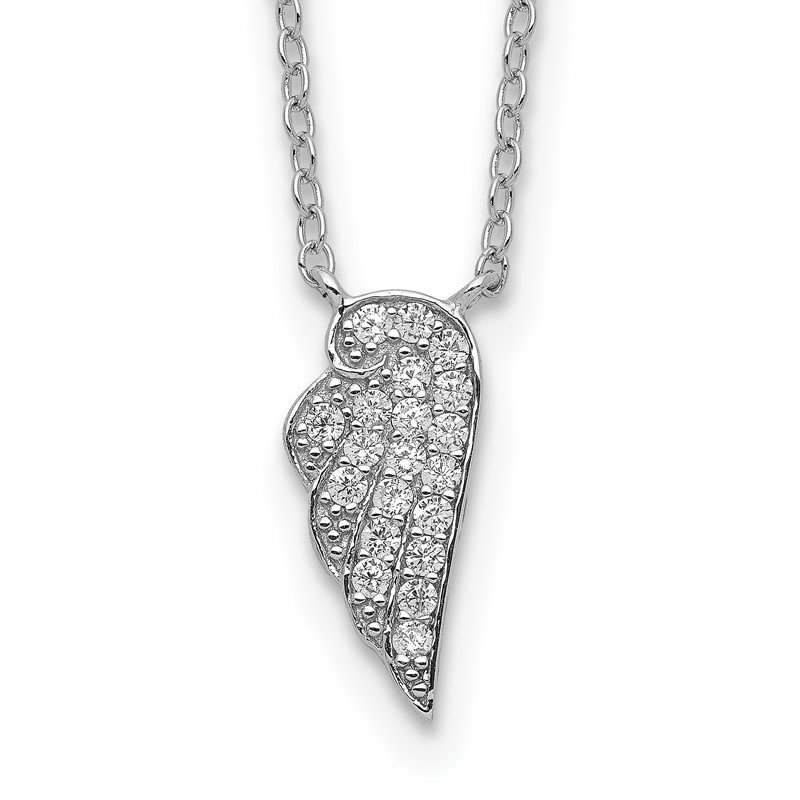 J.F. Kruse Signature Collection Sterling Silver Rhodium-plated CZ Wing Necklace