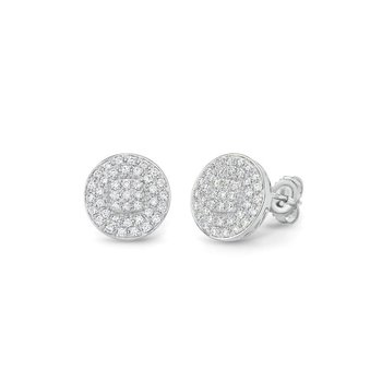 White Gold Large Round Stud Earrings with Diamonds