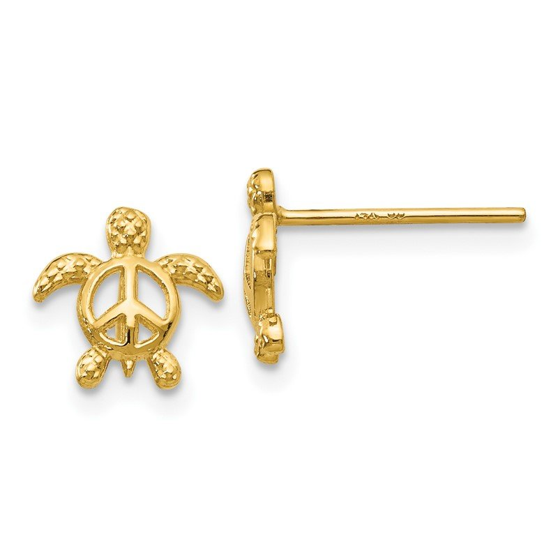 Quality Gold 14k Peace Turtle Post Earrings