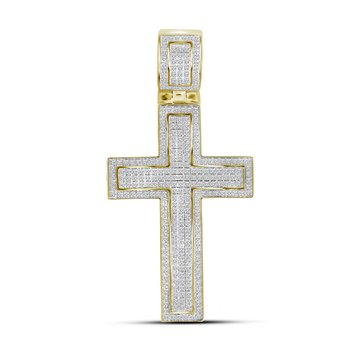 10kt Yellow Gold Mens Round Diamond Roman Cross Religious Charm Pendant 7/8 Cttw