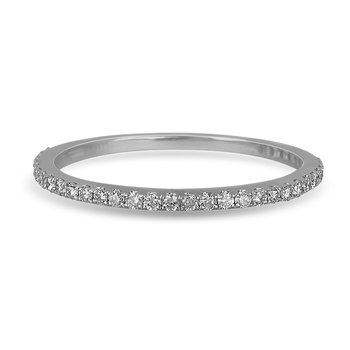 14K WG Diamond almost eternity Band in Prong Setting. 1/5 Cts