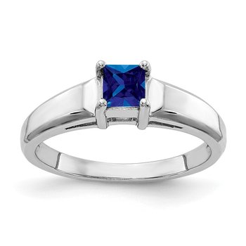 14k White Gold 4mm Princess Cut Sapphire ring