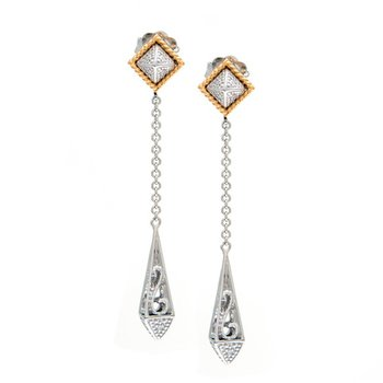 18kt and Sterling Silver Diamond 47mm Drop Dangle Earrings