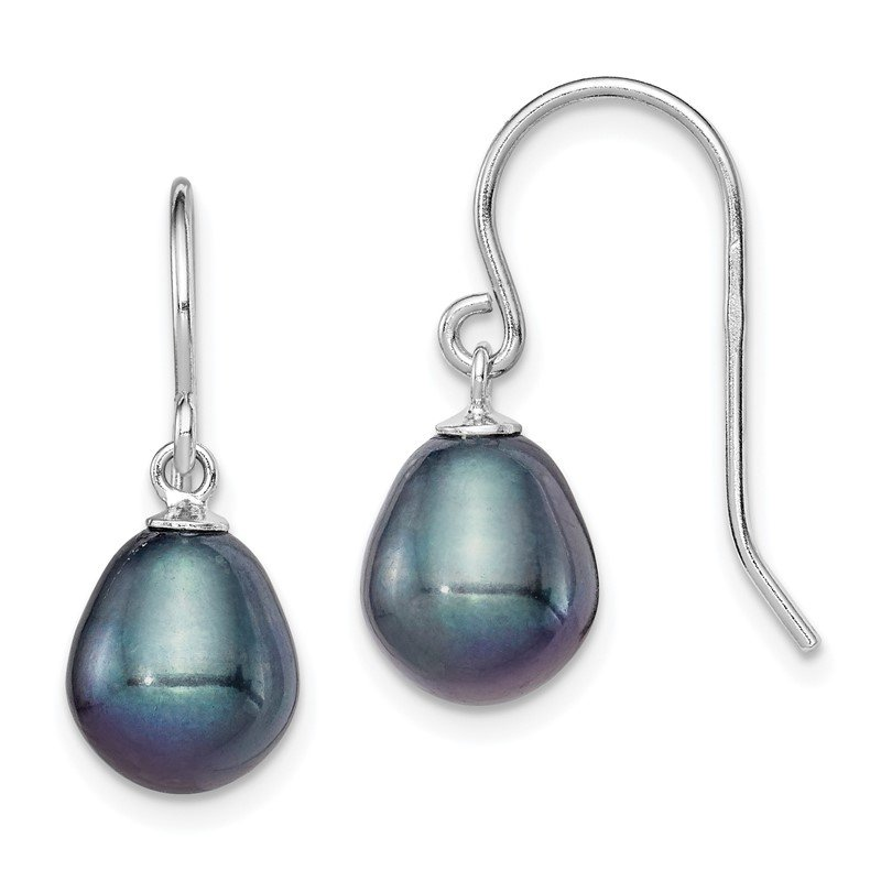 Quality Gold Sterling Silver Rhodium-plated 8-9mm Black FWC Pearl Dangle Earrings