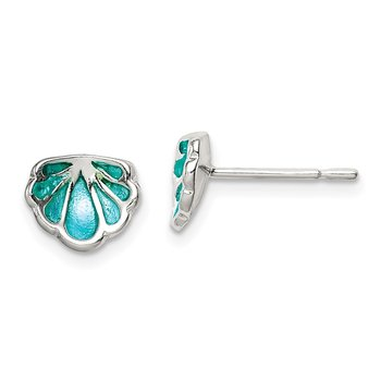 Sterling Silver Polished Enamel Seashell Post Earrings