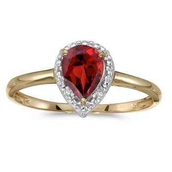10k Yellow Gold Pear Garnet And Diamond Ring