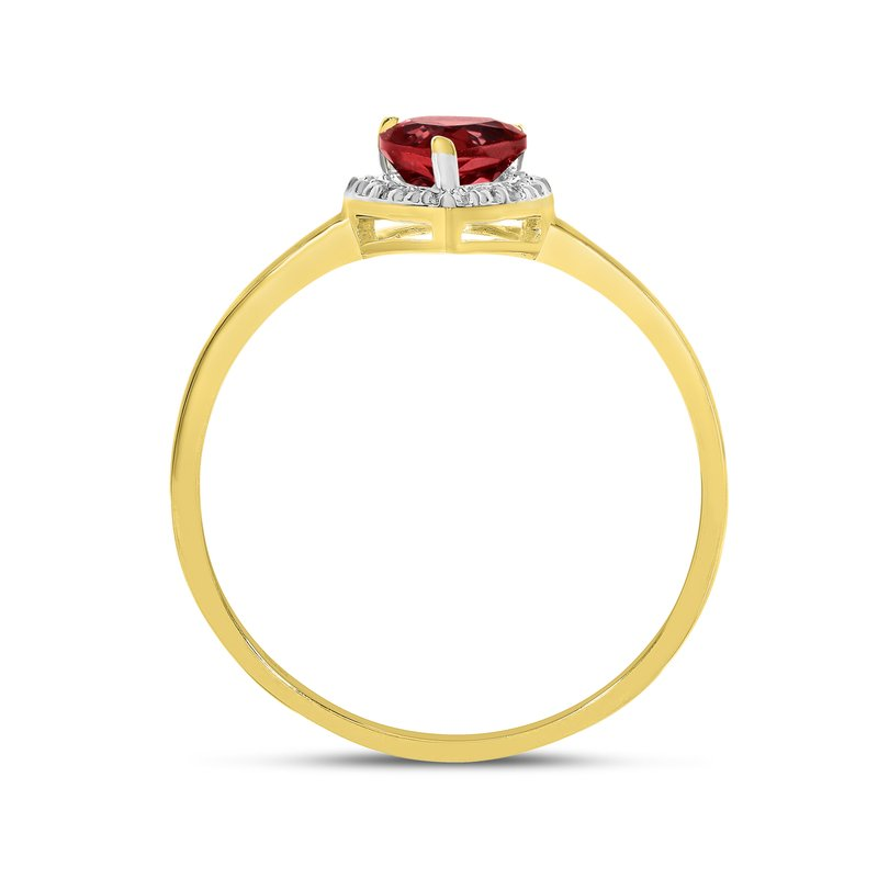 Color Merchants 10k Yellow Gold Pear Garnet And Diamond Ring