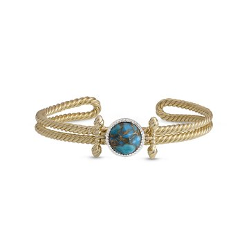LuvMyJewelry Golden Rays Turquoise & Diamond Cuff in Sterling Silver & 14 KT Yellow Gold Plating