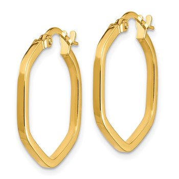 14K 2x2mm Square Tube Hexagon Hoop Earrings
