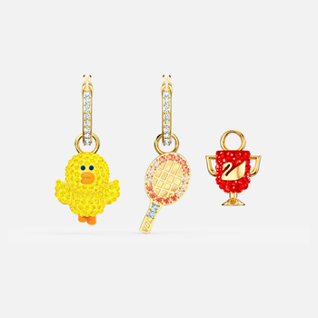 Line Friends Tennis Pierced Earrings, Light multi-colored, Gold-tone plated