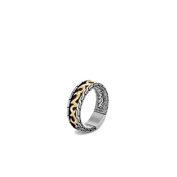Classic Chain Keris Dagger 7MM Band Ring, Silver, 18K Gold