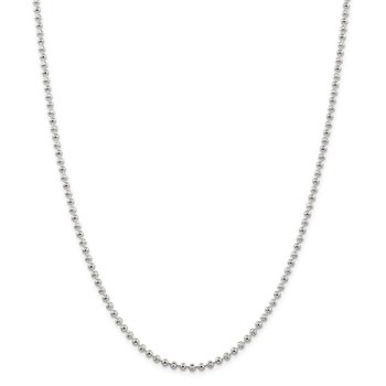 Sterling Silver 3mm Fancy Beaded Chain Anklet
