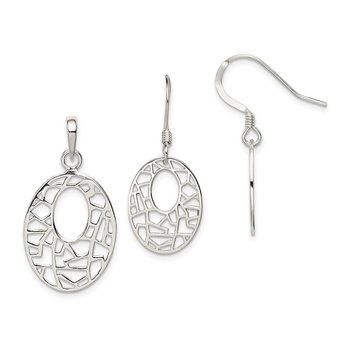 Sterling Silver Polished Fancy Pendant and Shepherd Hook Earrings Set