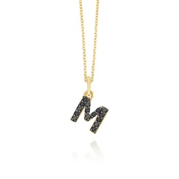 "Black Diamond Baby Block Initial ""M"" Necklace"