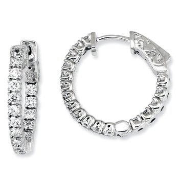 Sterling Silver CZ 34 Stones In and Out Round Hinged Hoop Earrings