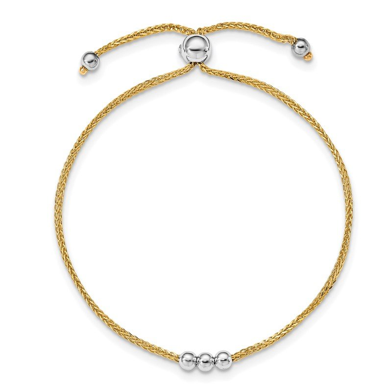 Quality Gold 14K Two-tone Bead Adjustable Bracelet