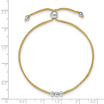 14K Two-tone Bead Adjustable Bracelet