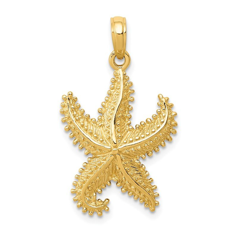 Quality Gold 14k Polished Open-Backed Starfish Pendant
