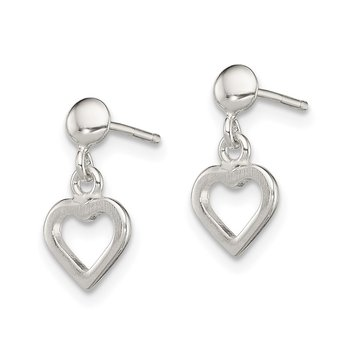 Sterling Silver Dangle Heart Post Earrings