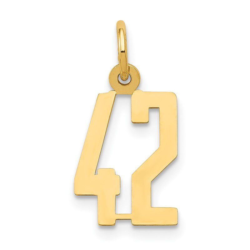 Quality Gold 14k Small Polished Elongated 42 Charm