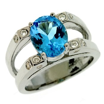 Blue Ttopaz & Diamond Ring