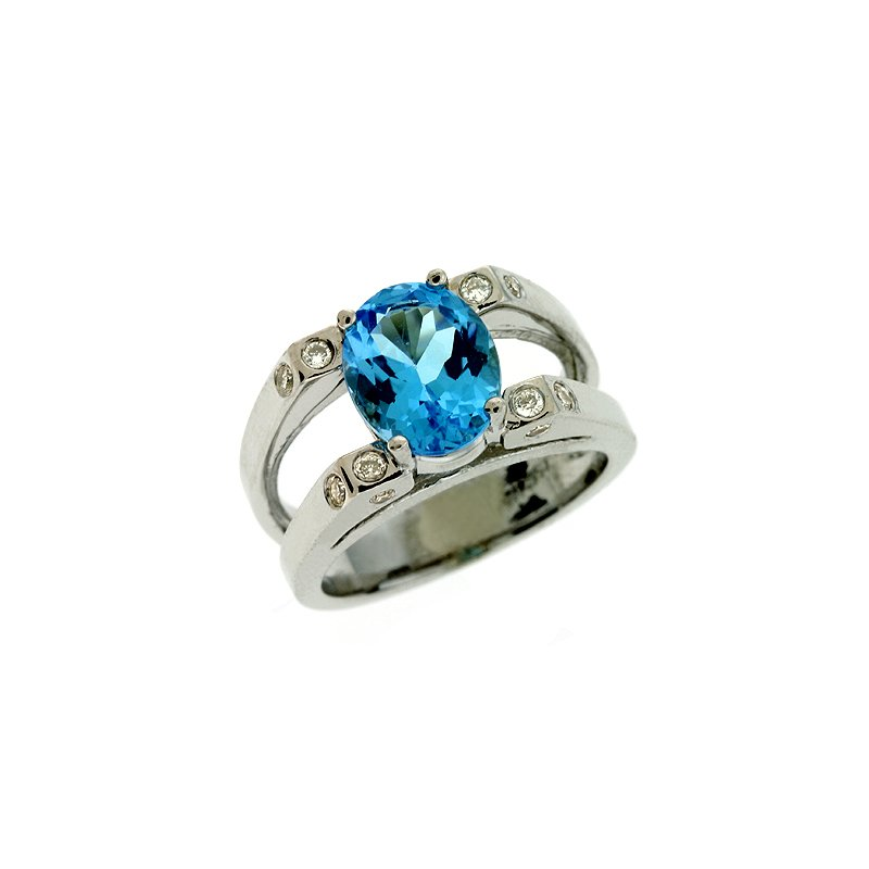 S. Kashi  & Sons Blue Ttopaz & Diamond Ring