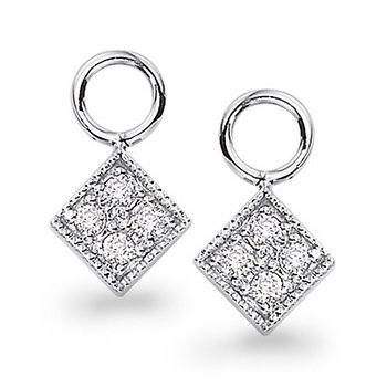 Diamond Square Earring Charms in 14k White Gold with 8 Diamonds weighing .14ct tw.