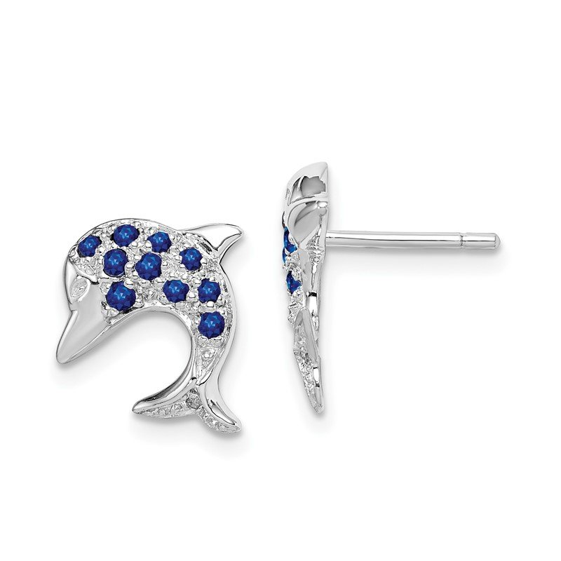 Quality Gold Sterling Silver Rhodium Sapphire & Diamond Dolphin Post Earrings