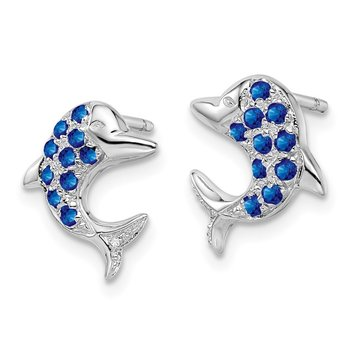 Sterling Silver Rhodium Sapphire & Diamond Dolphin Post Earrings