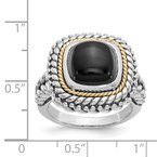 Quality Gold Sterling Silver w/14k Cabochon Onyx Ring