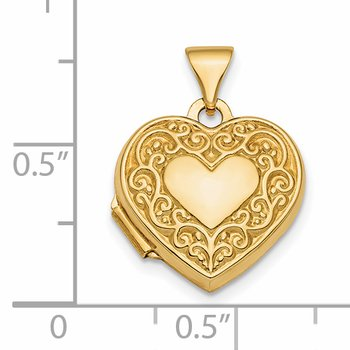 14k Polished Fancy Scroll Design Reversible 15mm Heart Locket