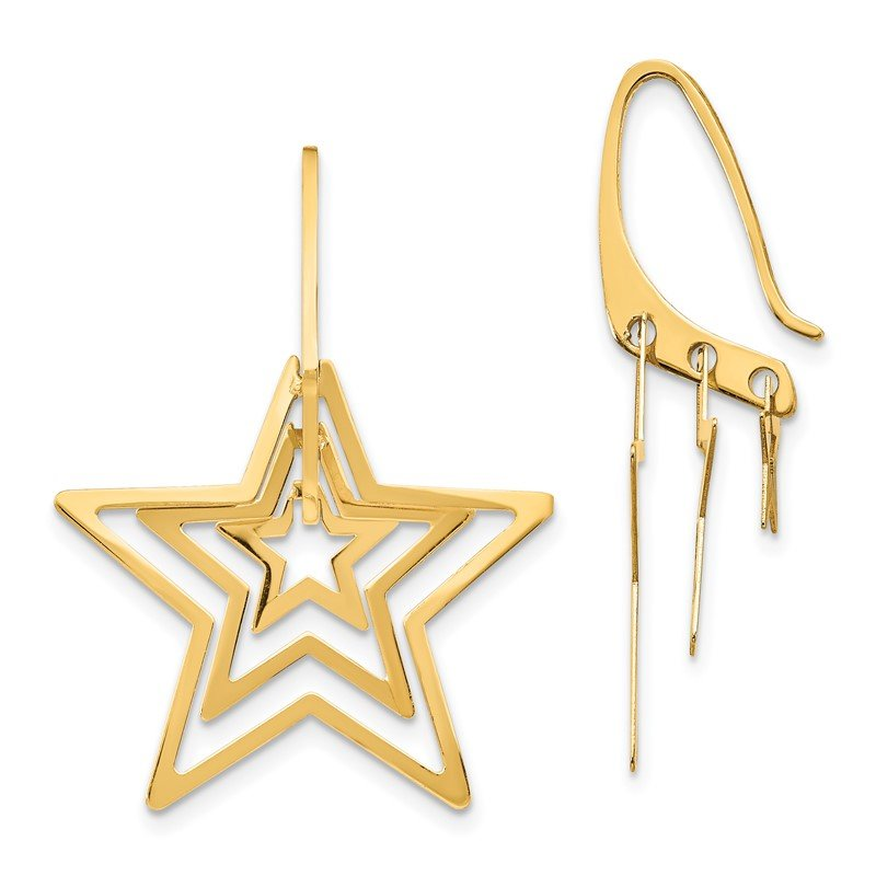 Quality Gold 14K Triple Star Dangle Earrings