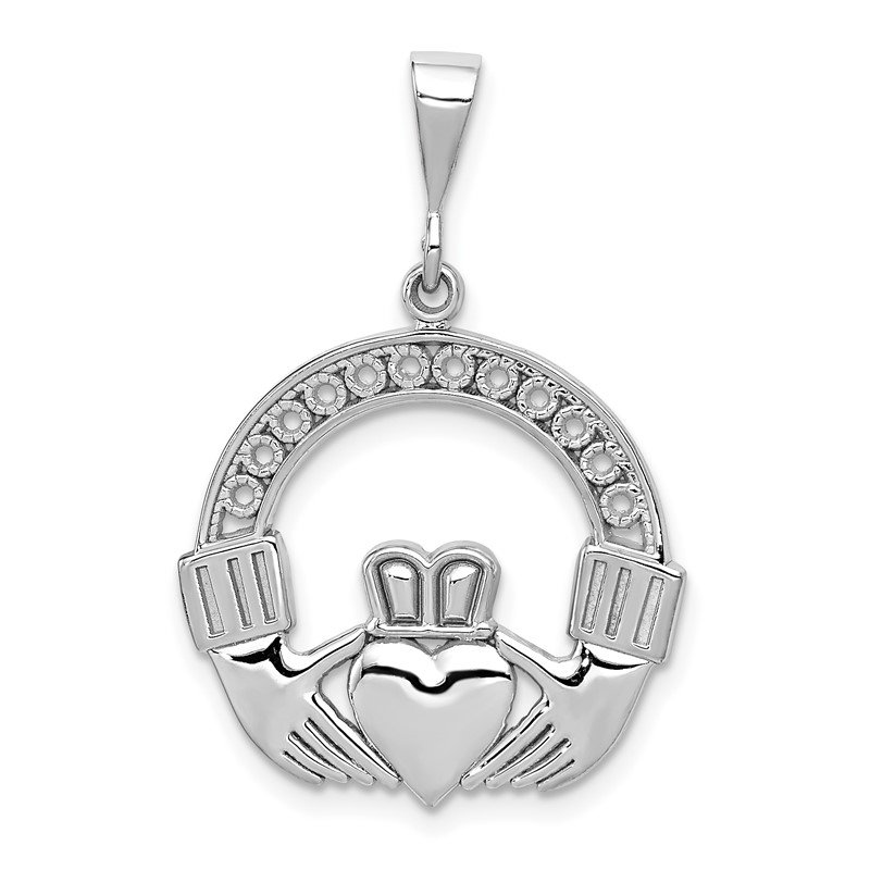 Quality Gold 14k White Gold Claddagh Pendant