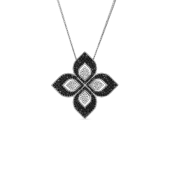 #27519 Of 18K Large Flower Pendant With Blk & Wht Diamonds
