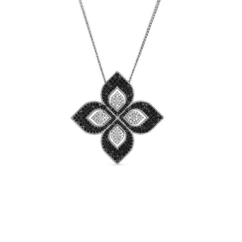 Roberto Coin  #27519 Of 18K Large Flower Pendant With Blk & Wht Diamonds