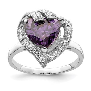 Sterling Silver Rhodium-plated Purple & Clear CZ Ring