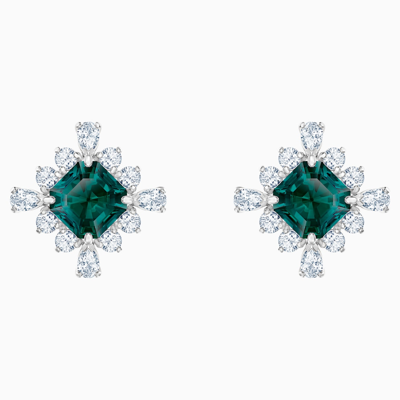 Swarovski Palace Stud Pierced Earrings, Green, Rhodium plated