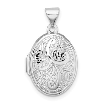 Sterling Silver Rhodium-plated Scroll Design Oval Locket