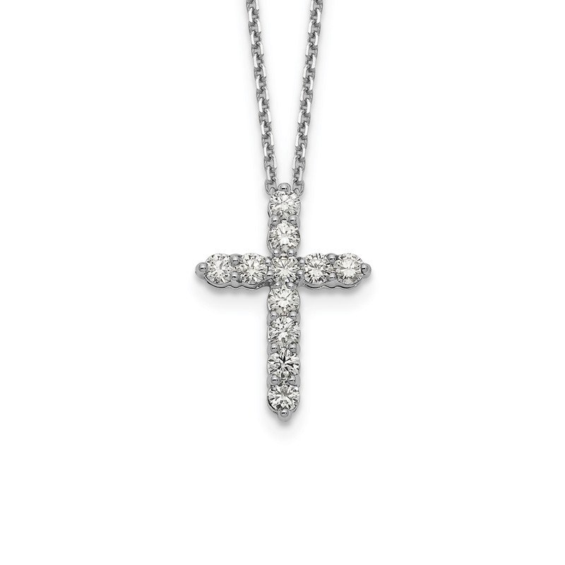True Origin 14kw True Origin Lab Grown Dia VS/SI D,E,F Cross Pendant with Chain