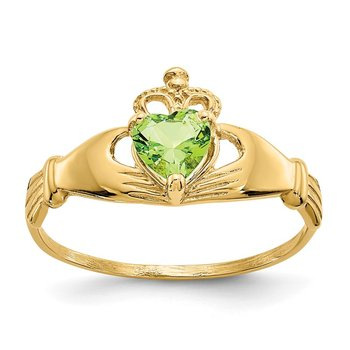 14k CZ August Birthstone Claddagh Heart Ring