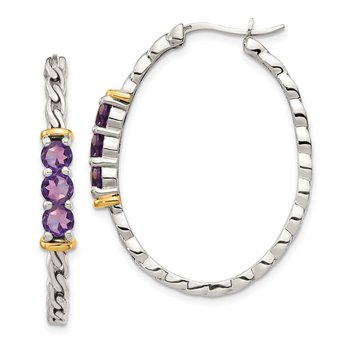 Sterling Silver w/ 14K Accent Amethyst Hinged Hoop Earrings
