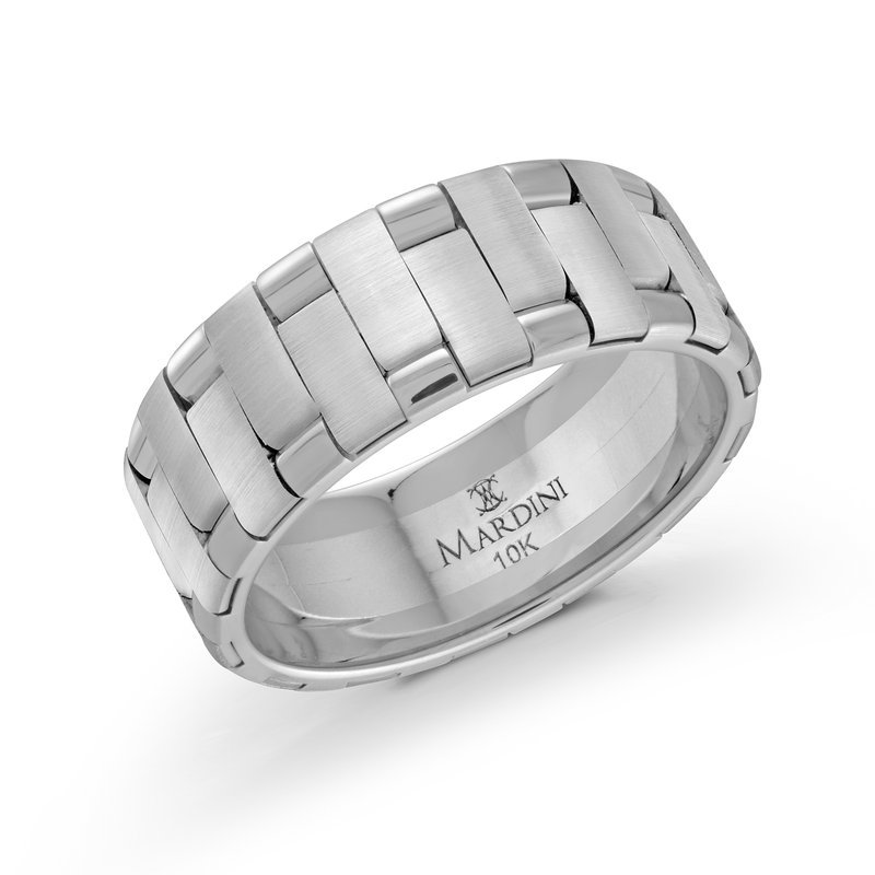 Mardini 8mm all white gold intertwined band