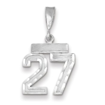 14k White Gold Small Diamond-cut Number 27 Charm